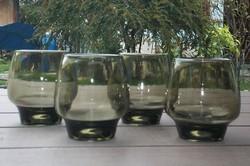 Füstszínű üvegpohár, vastagfalu üveg pohár 4 db-os készlet