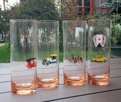 Színes hosszú üvegpohár, oldtimer autókkal díszített üveg pohár 4 db
