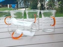 Színes fülű üvegpohár, teás bögre, vizes, üdítős is, 4 db