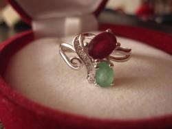 Smaragd rubin és fehér topáz 925 ezüst gyűrű - nemzeti színeinkben