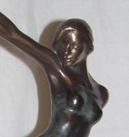 """INGYEN POSTÁVAL NAGYON JÓ ÁRON ELADÓ! Czobor Sándor """"Lány szalaggal"""" című bronz kisplasztikája"""