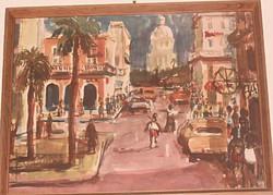 Német festőtől Havannai utcakép 1962, akvarel-repró
