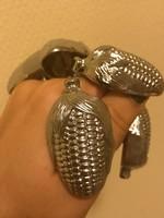 Fémműves ezüst kukorica fémfogantyú (réz ötvözet)