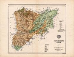 Vas megye térkép 1885, Magyarország, vármegye, atlasz, Kogutowicz Manó, 43 x 56 cm, eredeti