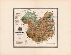 Szilágy megye térkép 1885, Magyarország, vármegye, atlasz, Kogutowicz Manó, 43 x 56 cm, eredeti