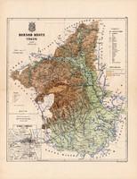 Borsod megye térkép 1887, Magyarország, vármegye, atlasz, Kogutowicz Manó, 43 x 56 cm, Miskolc