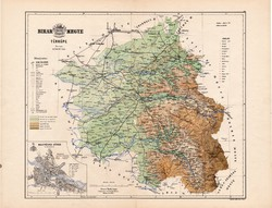 Bihar megye térkép 1886, Magyarország, vármegye, atlasz, Kogutowicz Manó, 43 x 56 cm, Nagyvárad
