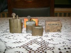 Antik réz öngyújtó két darab + egy SZIKRA gyufás doboz