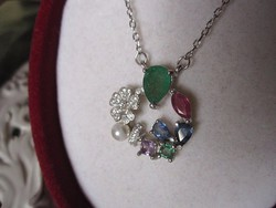 Smaragd, rubin, zafír, ametiszt, igazgyöngy ezüst nyakék