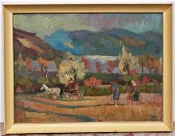Doór Ferenc (1918-) Dunakanyar Képcsarnokos olajfestménye 85x65cm EREDETI