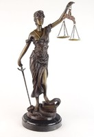0N977 Jusztícia bronz szobor 45 cm