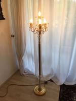 Állólámpa barokk stilusú réz és kristály kombinácios 145cm magas
