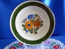 Városlődi kézzel festett kerámia,majolika tányér, tál, falitál 25 cm