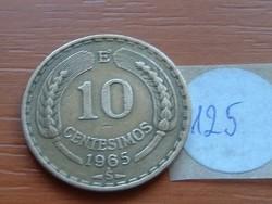 CHILE 10 CENTESIMOS 1965 S  125.