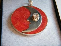 Korall medál,925-ös ezüst keretben