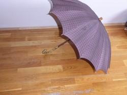 Régi hajlított bambusz fogantyú, fa nyelű esernyő, Régi  antik esernyő