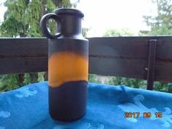 FAT LAVA-1960-Scheurich-W.Germany-sötét barna-narancssárga díszkancsó-számozása 401-20-21 cm