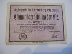 100 Milliárd Márka 1923 Ritka címletű.