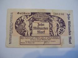 10 Milliárd Márka 1923 München Ritka nagy címletű.
