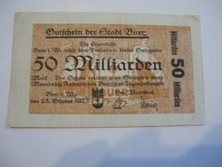 50 Milliárd Márka 1923 Ritka nagy címletű.