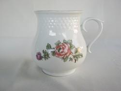 Hollóházi porcelán rózsás hasas bögre csupor nagyobb méret
