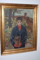Balogh András ( 1919-1992) festőművész alkotása , Fiatal lány portréja........olajfestmény, eredeti,