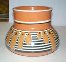 Retró  jelzett, iparművész mázas kerámia váza AJÁNDÉK állapot