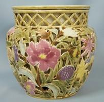 Antik historizáló dupla falú Zsolnay virág kaspó