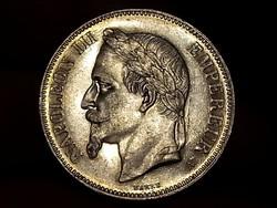 III.Napoleon ezüst Francia 5 francs 1870 ilyen állapotban RITKA!!!