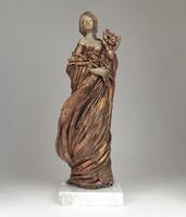 0N984 Jelzett Debreczeni Pelcz kerámia szobor 31cm