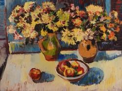 Schéner Mihály (1923-2009): Asztai csendélet, 1980 k.