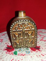 Antik kakasmintás erdélyi ornamentikával készült kerámia zseb pálinkás butella 1,5 dl 9,5 X 4 X 5 cm