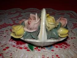 Antik Karl ENS Volkstedt  virág / rózsakosár porcelán figura a képek szerint 6 x 8 cm