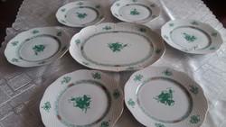 Herendi 6 személyes zöld Apponyi süteményes készlet