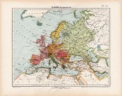 Európa politikai térkép 1906, Nagy Magyar Atlasz, eredeti, régi, magyar nyelvű, antik, politika