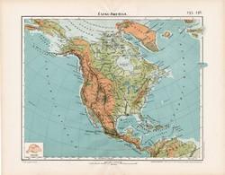 Észak - Amerika hegy- és vízrajzi térkép 1906, Nagy Magyar Atlasz, eredeti, Nagy - Magyarország