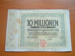 NÉMET BIRODALOM 10 MILLIÓ MÁRKA 1923 DUISBURG FORDÍTOTT
