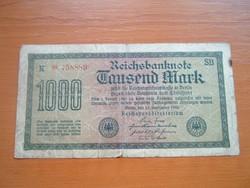 NÉMET BIRODALOM 1000 MÁRKA 1922 VÍZJELES K * CSILLAGOS