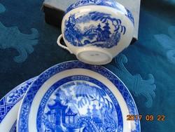 Tojáshéj porcelán Kobaltkék Japán kert pagodákkal minta teás reggeliző készlet-(2)