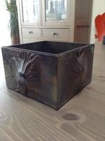 Régi IDEA iparművészeti asztali réz doboz eozin színnel