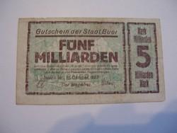 5 Milliárd Márka 1923 Ritka nagy címletű.
