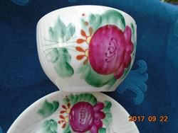 ANTIK-August Warnecke-1925-OSTFRIESEN ROSE-kézzel festett-bordázott-csésze alátéttel