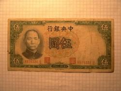 5 Yuan Kína 1936 !!