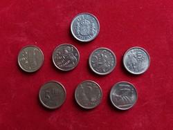 Spanyolország 8 darab különböző 5 peseta.