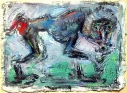 Tóth Ernő - Pávián 27 x 38 cm olaj, merített papír