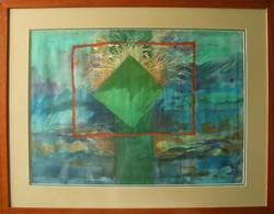 """Illényi Tamara """"Sziget"""" c. különleges selyemakvarellje gyűjteményből eladó"""