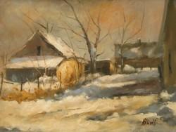"""VÉGSŐ ÁR!!!  Németh Ferenc """"Téli fények"""" című olajfestménye ingyen postával szép keretben"""