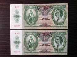 10 pengő bankjegy tökéletes hajtatlan UNC állapotban