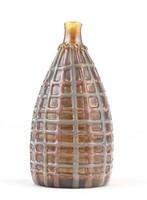 0O216 Jelzett iparművészeti fújt üveg díszváza 9cm