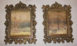 Selyemkép  2 db barokk stílusú fém keretben